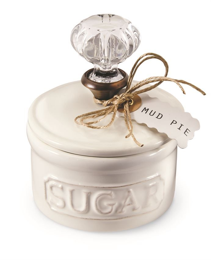2-piece set. Ceramic sugar bowl with removable lid features vintage-inspired glass door knob handle.