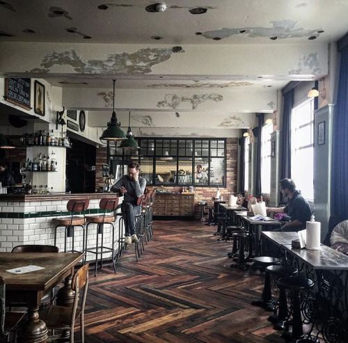 Like the flooring. Like the overall ease within the space. Not so sure about the small stool seat to table ratio on the long side tables.  With-grace-and-guts: Kex Hostel ~ Beth Kirby // Instagram