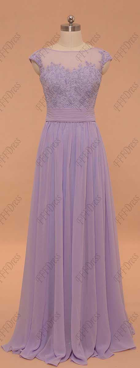Lavender prom dresses long lace cap sleeves prom dress bridesmaid dresses evening dresses