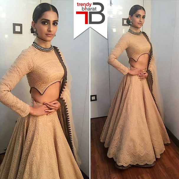 Sonam Kapoor : The fashionista in a Nude coloured lehenga .. #bollywoodfashion #ehnicwear #womensfashion #traditionalalert https://trendybharat.com/women/ethnics-wear/bollywood-collection