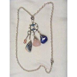 Tassel design chain necklace w semi-precious stones, 73cm
