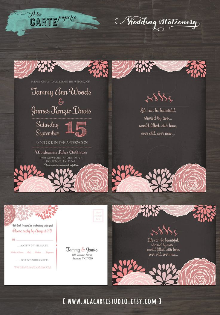 Floral Chalkboard Wedding Invitation Card and by