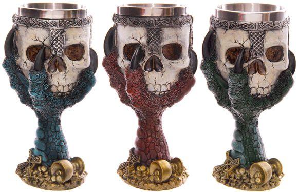 #Copas garra de #dragón y #calavera en varios colores: granate, verde y azul.