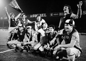 Aston Villa players celebrate their victory over Anderlecht after their European Cup semi-final second leg.
