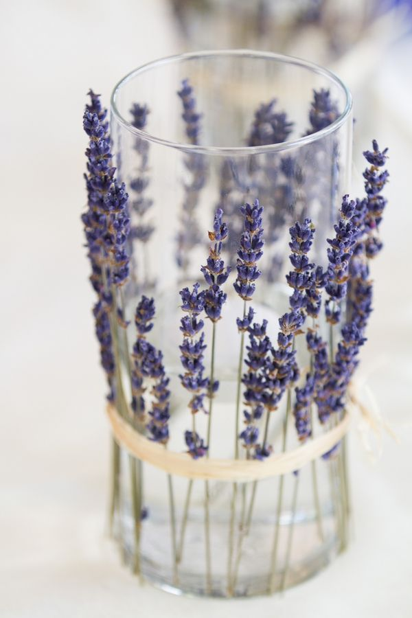 Line candleholders with dried lavender for a fragrant and lovely touch (Photo by Aaron Watson Photography)