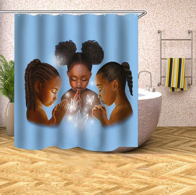 Afro African American Praying Children Bathroom Shower Curtain Bathroom Kids African Shower Curtain Bathroom Shower Curtains