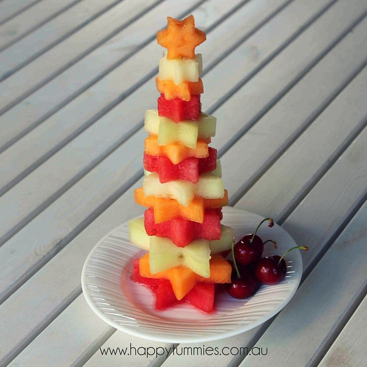 Forget fiddling around making cookies this year! Just make a stack of stars with melon.
