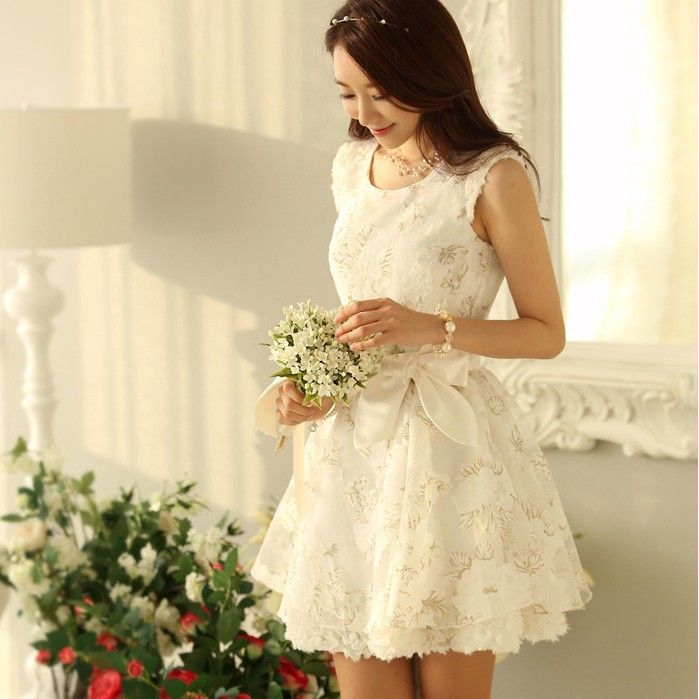 New In 2015 Summer Korean Style Fashion Elegant Floral Print Organza Ball Gown Dress Women Party