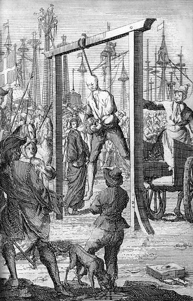 "The hanging of pirate Stede Bonnet in Charleston, 1718. Bonnet was sometimes called ""The Gentleman Pirate"" because he was a moderately wealthy landowner before turning to a life of crime. Bonnet was born into a wealthy English family on the island of Barbados, and inherited the family estate after his father's death in 1694. Despite his lack of sailing experience, Bonnet decided to turn to piracy in the summer of 1717. He became a sailing companion of the infamous Blackbeard aboard 'The…"