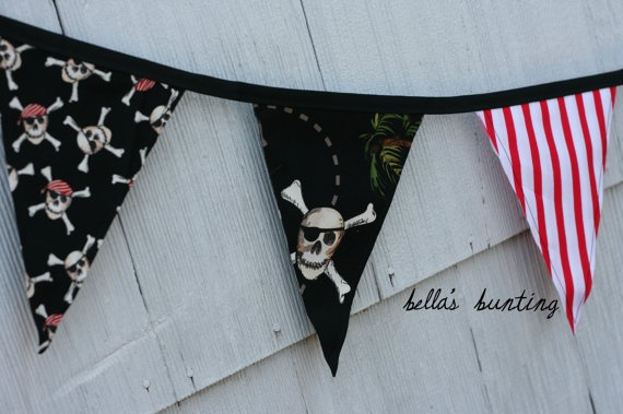Pirate Banner Fabric Bunting Pirate Birthday by BellasBunting, $28.00