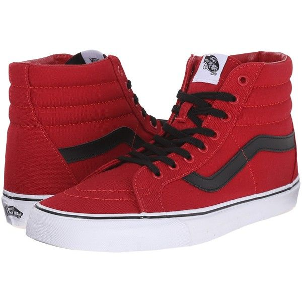 Vans SK8-Hi Reissue ((Canvas) Chili Pepper/Black) Skate Shoes ($43) ❤ liked on Polyvore featuring shoes, sneakers, red, red black shoes, red canvas shoes, black canvas shoes, red canvas sneakers and black trainers