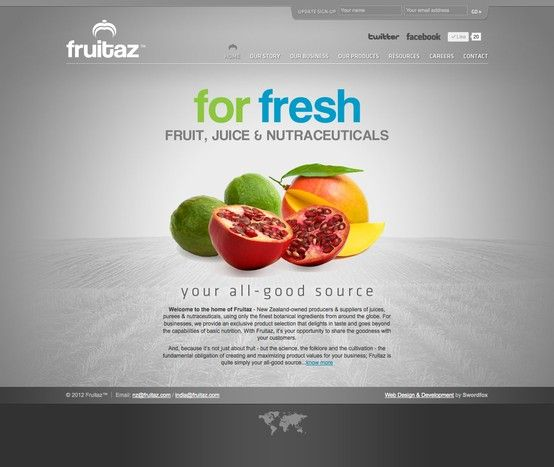 Website design & development for Fruitaz. New Zealand-owned producers & suppliers of juices, purees & nutraceuticals, using only the finest botanical ingredients from around the globe. For businesses, we provide an exclusive product selection that delights in taste and goes beyond the capabilities of basic nutrition. With Fruitaz, it's your opportunity to share the goodness with your customers.