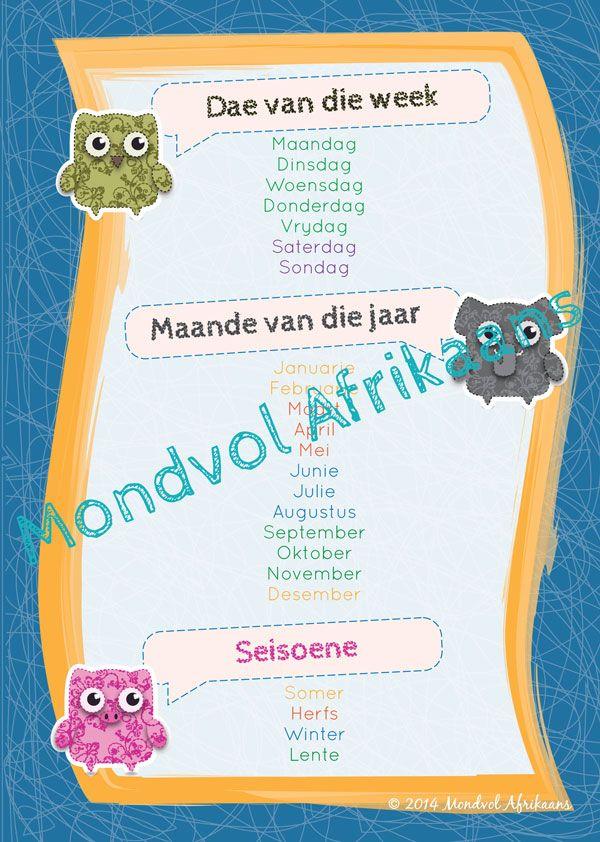 Dae, Maande, Seisoene. Digitale Afrikaanse plakkaat, beskikbaar op http://teachingresources.co.za/vendors/mondvol-afrikaans/