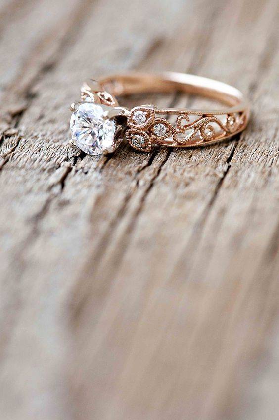 Wilson Diamonds Rose Gold Ring Style Number R5520E / http://www.deerpearlflowers.com/rose-gold-engagement-rings/