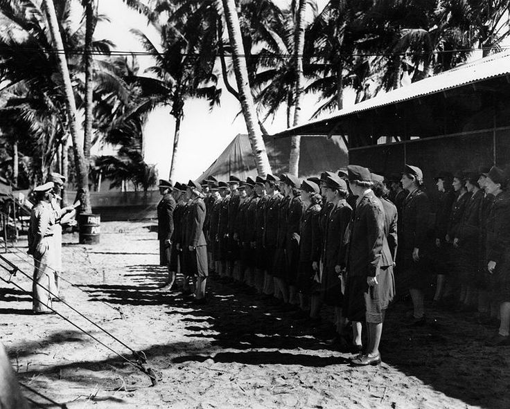 US Army nurses photographed when being awarded the Bronze Stars by General Denit on Leyte Island. The Angels of Bataan were, in regards to modern history, the largest group of women in combat and the largest group of women taken as prisoners of war.