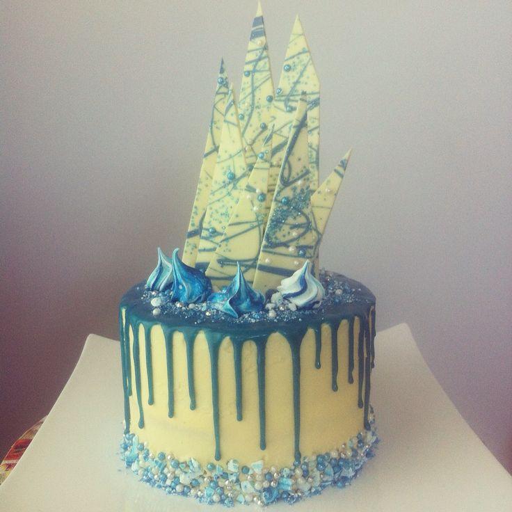 Inspired by Katherine Sabbath! Boys baptism cake. White chocolate mud cake with ganache drizzle.