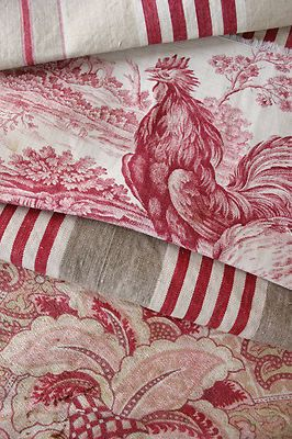 Antique French toile and ticking pieces ~ These are two of my fav. colors together for the home. Love the toile fabric.