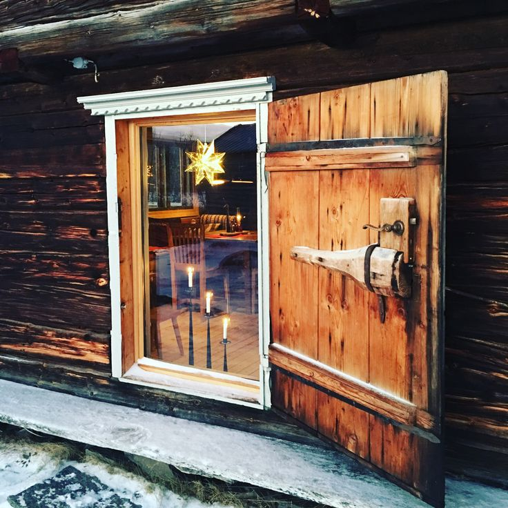 Old door with a new glas inside #interior #loghouse #fjällstuga