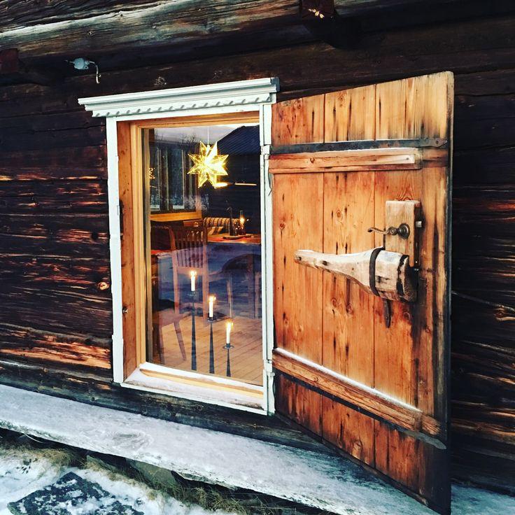 Old door with a new glas inside #interior #loghouse #fjällstuga