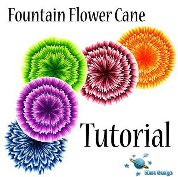 New TUTORIAL  FOUNTAIN flower cane  polymer clay by marsdesign,