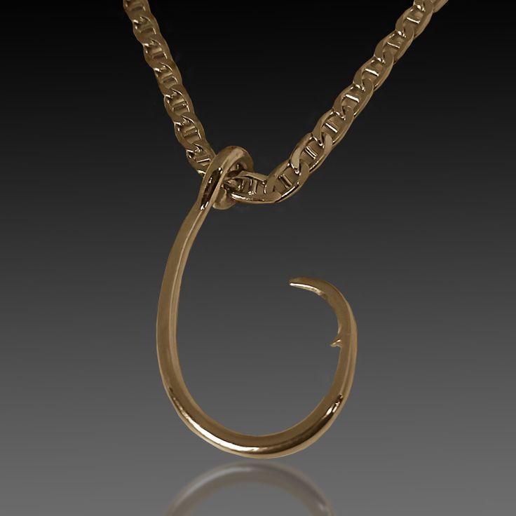 14 karat yellow gold fisherman's hook pendant