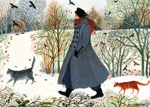 'Another Walk In The Snow' By Painter Dee Nickerson. Blank Art Cards By Green Pebble. www.greenpebble.co.uk
