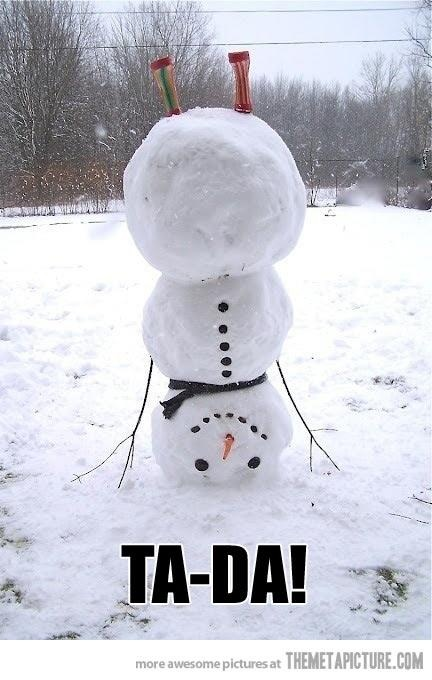 Don't want to even think about winter but this is a cute twist to making a snowman.
