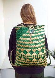 Large Green and Natural Maori Flax Backpack - kete, backpack, made, maori, flax, new, zealand, ... - Shopenzed.com