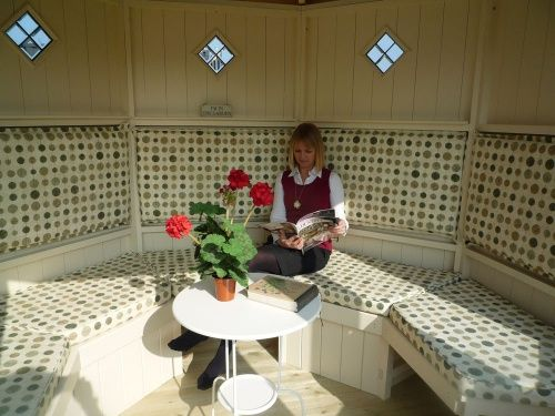 Octagonal summerhouse interior with made to measure seating and upholstery relax in style - Summer house plans delight relaxation ...
