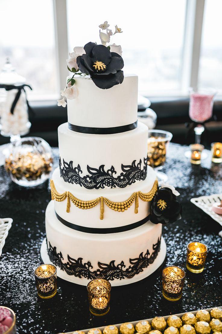 Gold Black And White Wedding Cakes
