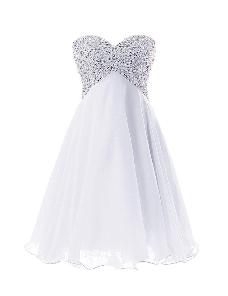 Dressystar Robe de demoiselle d'honneur/soirée/bal courte,Perlée,en Mousseline Taille 40 Blanc