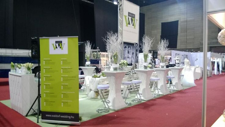 Stand of our company (Waldorf-Wedding Ltd) at the 10th Wedding Exhibition at Papp Laszlo Budapest Sportarena http://www.hungarianweddings.com #white #green #wedding #decor #eco #hungary #budapest