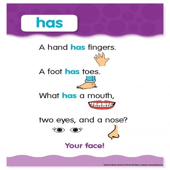 "Sight Word Poem: ""has"""