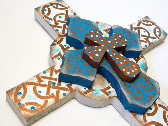 FREE SHIPPING HAND Cut Three Dimentional Cross Wall Hanging by gr8byz