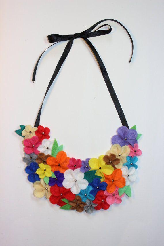 Felt flower bib necklace