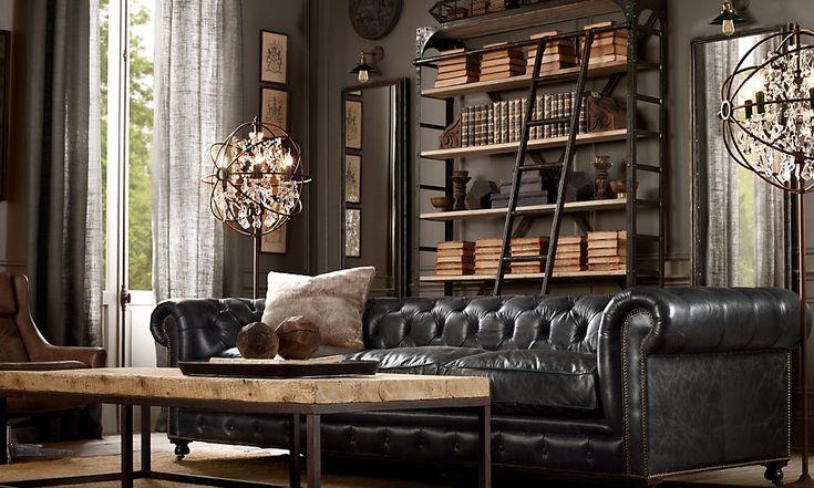 shelf. mirrors. lights over mirrorsWall Colors, Bookshelves, Living Rooms, Restoration Hardware, Leather Couch, Leather Sofas, Livingroom, Book Shelves, Floors Lamps