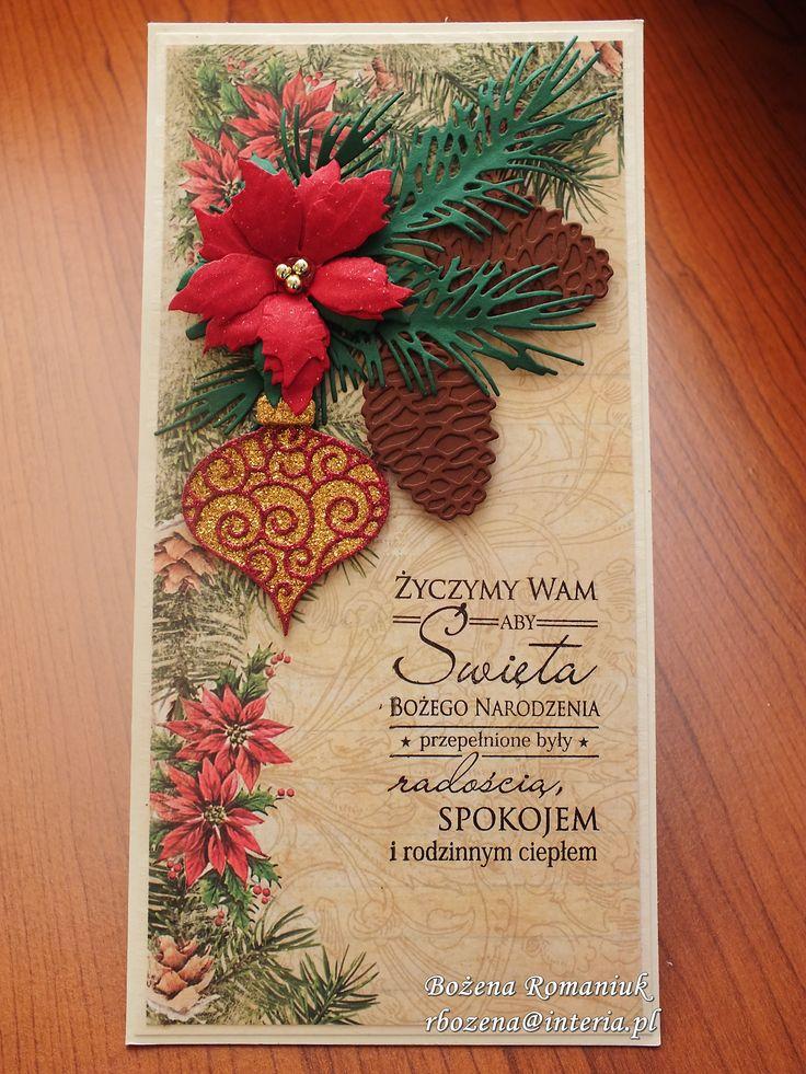 kartki świąteczne - papier Craft&You, poinsetta Sizzix, Pinecone Elisabeth Craft Designs