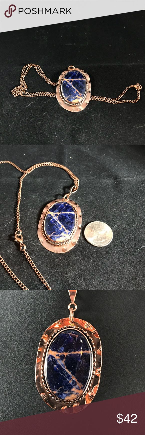 """Sodalite 40x30mm Cabochon Copper Necklace B-1-31 Handmade Copper setting Pendant with a beautiful natural Sodalite 40mm x 30mm Cabochon. 24"""" Matching Chain is included. I have signed this creation. Handmade by HM Simon Jewelry Necklaces"""