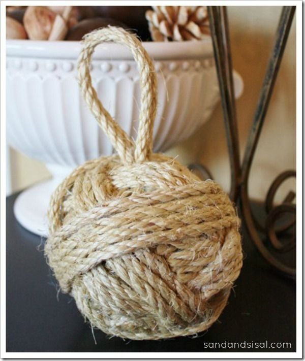 DIY Sisal Rope Ball--   Pottery Barn knock off   door stop--between kids and animals  this will be all over my house