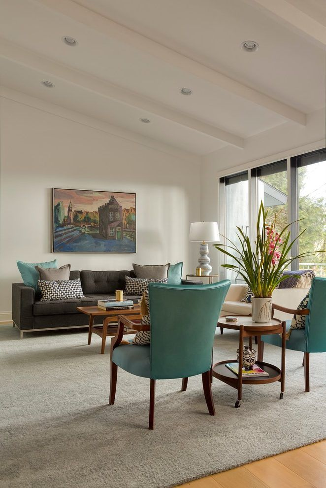 Half Vaulted Ceiling Living Room Contemporary With Yellow Flower