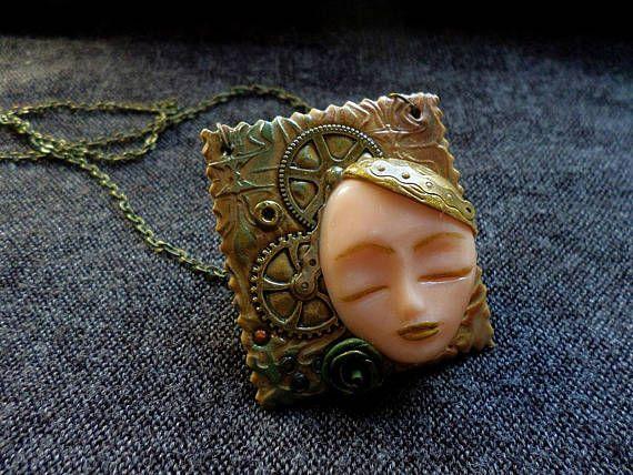 Steampunk Pendant Sculpted Face Pendant Steampunk Face