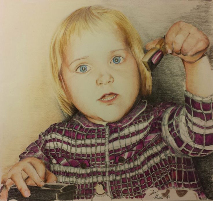 Selfportrait - A million years ago since I was 3 ^_^ - Drawing by Naira