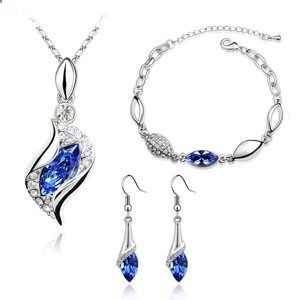 Womens Austrian Crystal Sets,Angel the elf,Necklace,bracelet And Earring(3-Piece Set) Jewelry Sets Blue. Read more description on the website.