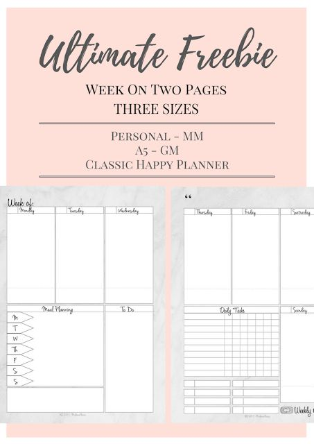 Ultimate Free Printable - Week On Two Pages - A5 MM Personal GM and Classic Happy Planner