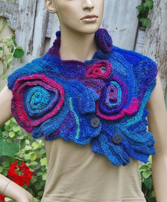 Crochet Scarf Shadows Blue purple Red Freeform crochet by Degra2