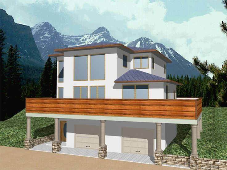 17 best images about sloped lot on pinterest house plans for Vacation house plans sloped lot
