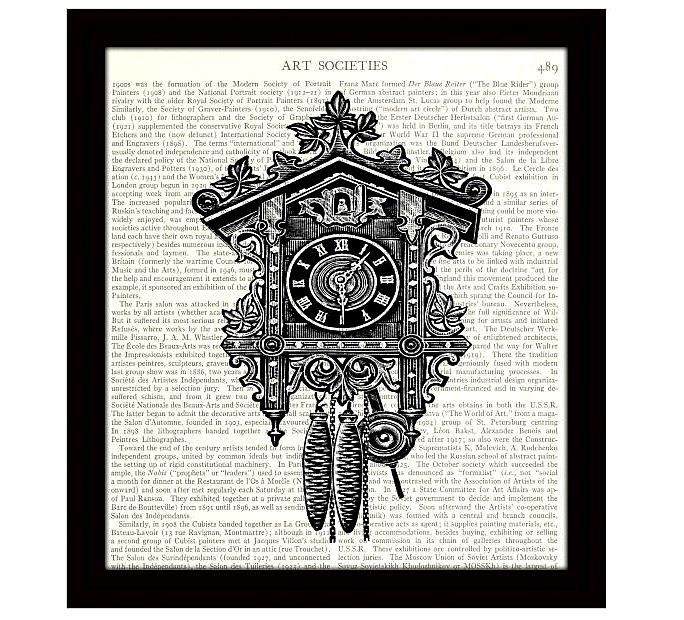Cuckoo Clock Art Print, Victorian Illustration, Black and White Retro Art, Upcycled Dictionary Page, Home Decor, Wall Art - Item 253 by StevesArtEmporium on Etsy https://www.etsy.com/listing/223092112/cuckoo-clock-art-print-victorian