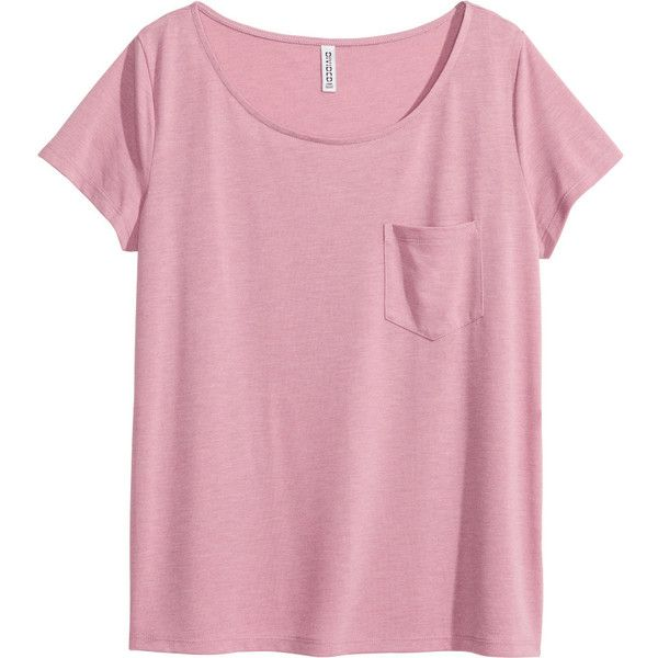 H&M Top (£6.99) ❤ liked on Polyvore featuring tops, t-shirts, shirts, pink, short-sleeve shirt, pink short sleeve shirt, rayon shirts, t shirt and tee-shirt