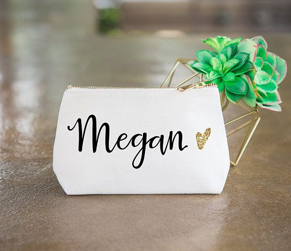 Personalized Makeup Bag Gift For Bridesmaids Canvas Pouch W Name Glitter Heart Wedding