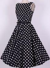 Algodón instock Envío Gratis S 6XL blanco negro lunares rojos balancee el vestido de estilo retro